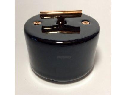 Porcelánový vypínač DO SURFACE černý/klička měď