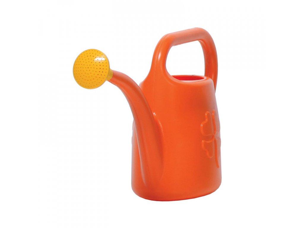 Větší zahradní konvička s kropítkem, oranžová barva, objem 4,5 l.