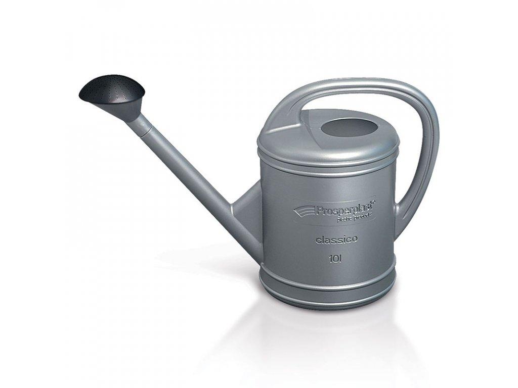 Zahradní plastová konev šedé – stříbrné barvy s kropítkem. Objem 10 l.