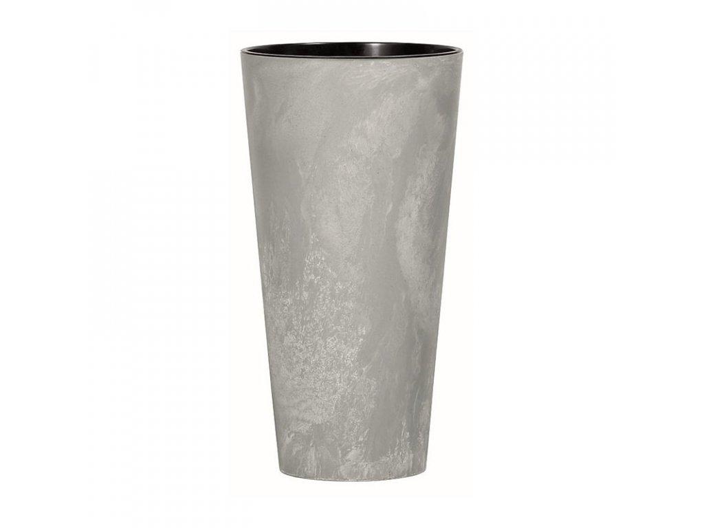 Květináč s vkladem TUBUS SLIM BETON EFFECT šedý 15cm