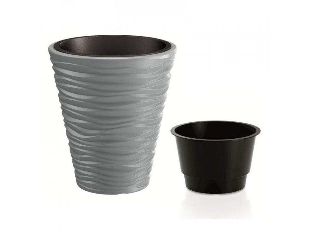 Květináč SAND + vklad šedý kámen 38,8 cm