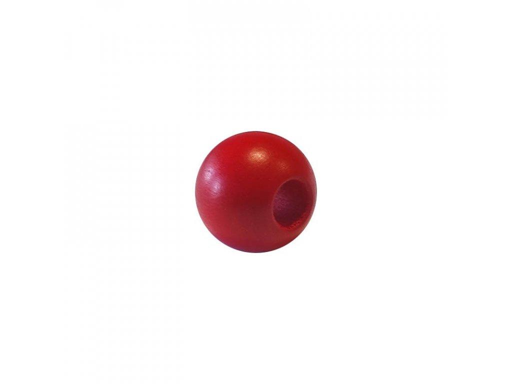 Dřevěný korálek - Koule 25/10mm červená