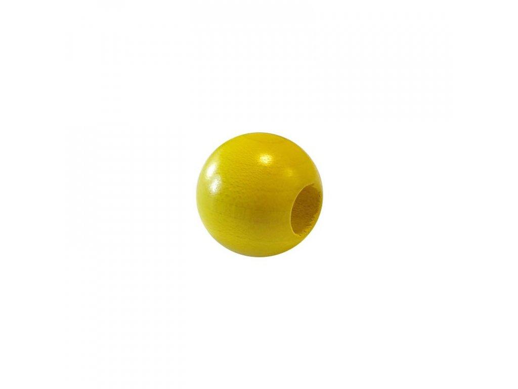 Dřevěný korálek – Koule 25/10mm žlutá