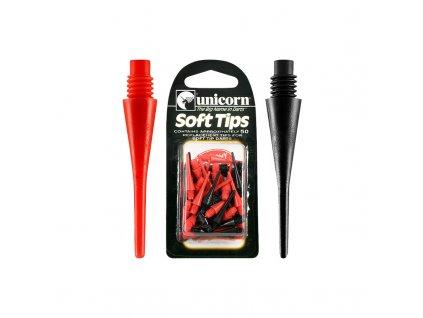 Unicorn Spare Soft Tips - náhradní balení plastových měkkých hrotů 50 ks - černá, červená