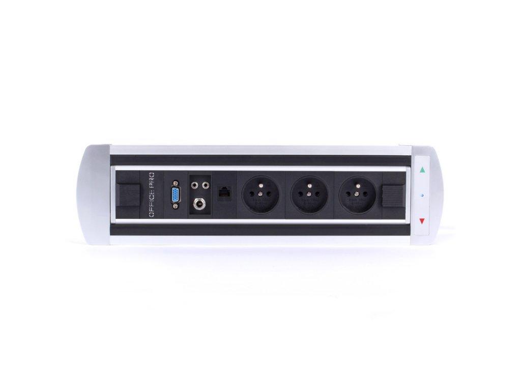 Elektricky otočný panel s 3x el.zás,data,VGA,audio,mikrof BTCZ 004