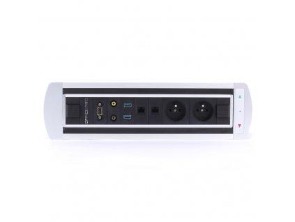 Elektricky otočný panel s 2x el.,2x data,video,audio,VGA,USB - VAULT BTCZ 012
