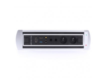 Elektricky otočný panel s 2x el.,2x data, video,VGA,USB,HDMI - VAULT BTCZ 043