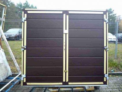 Dvoukřídlá garážová vrata 2580x2140 mm, s PU panelem, tmavý dub/bílá  + příslušenství zdarma + montážní materiál zdarma