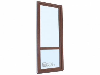 Plastové balkonové dveře - KBE 70 AD, 800x2400 mm, otevíravé/sklopné (OS), ořech/bílá (Otevírání levé (OSl))