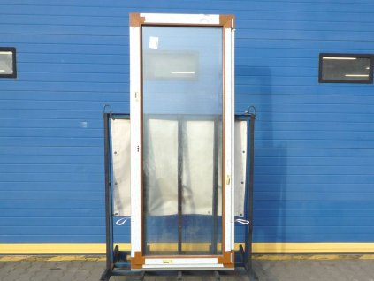 Plastové balkonové dveře - KNIPPING 76 MD, 870x2350 mm, OS pravé, ořech/bílá  + příslušenství zdarma + montážní materiál zdarma