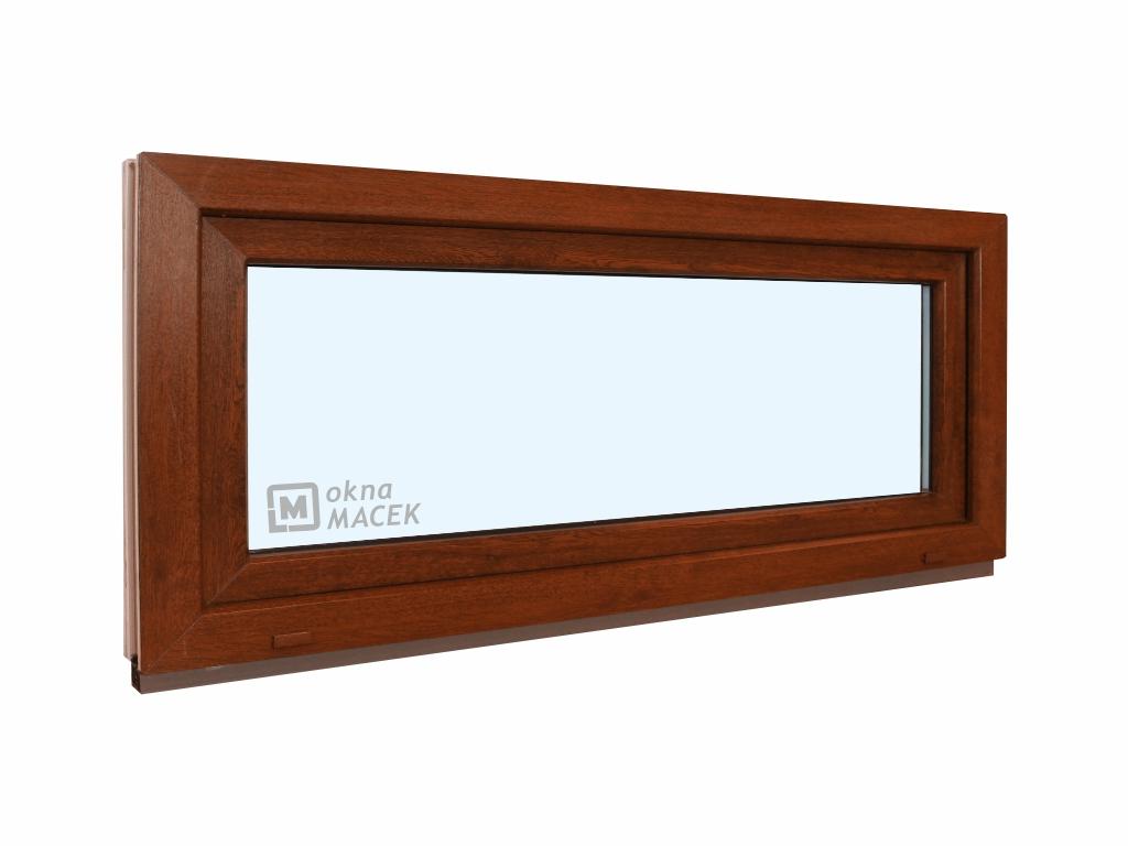 Plastové okno - KNIPPING 70 AD, 1200x500 mm, S (sklopné), ořech/bílá Sklo: čiré