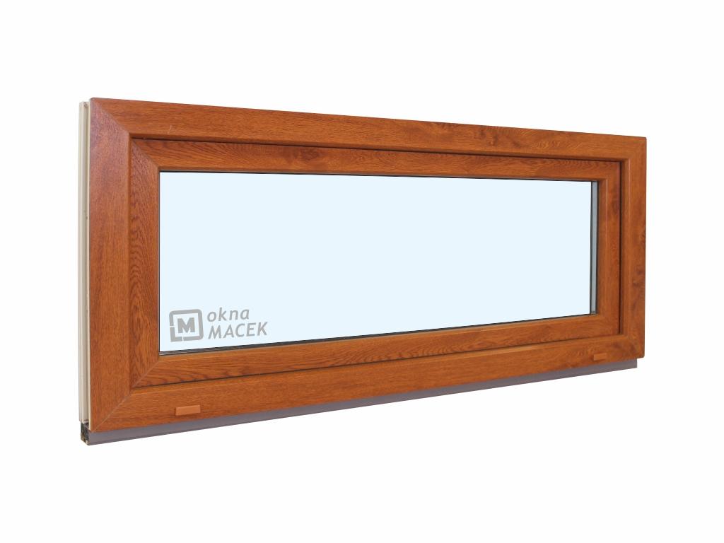 Plastové okno - KNIPPING 70 AD, 1200x500 mm, S (sklopné), zlatý dub/bílá Sklo: čiré