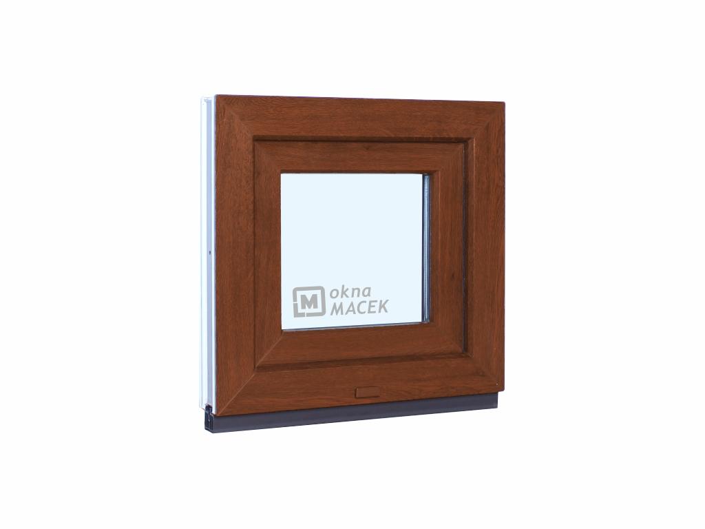 Plastové okno - KNIPPING 70 AD, 500x500 mm, S (sklopné), ořech/bílá Sklo: čiré