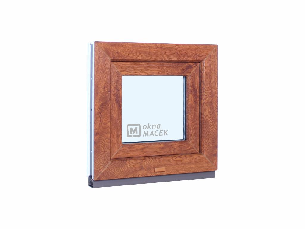 Plastové okno - KNIPPING 70 AD, 500x500 mm, S (sklopné), zlatý dub/bílá Sklo: čiré