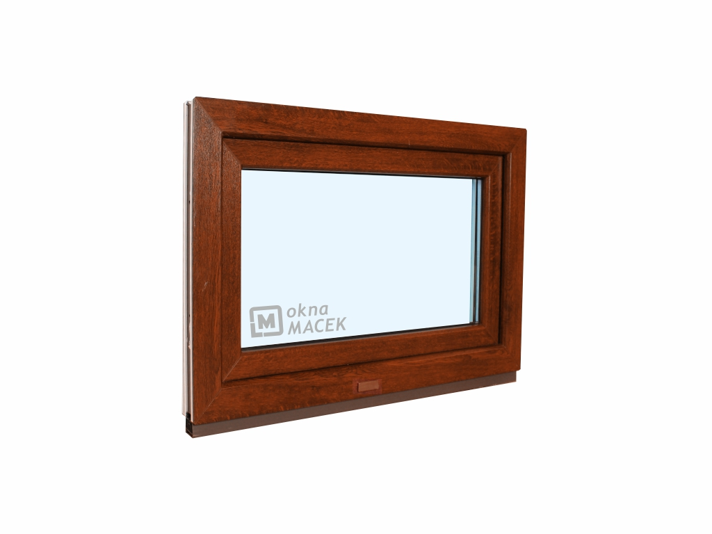 Plastové okno - KNIPPING 70 AD, 600x500 mm, S (sklopné), ořech/bílá Sklo: čiré