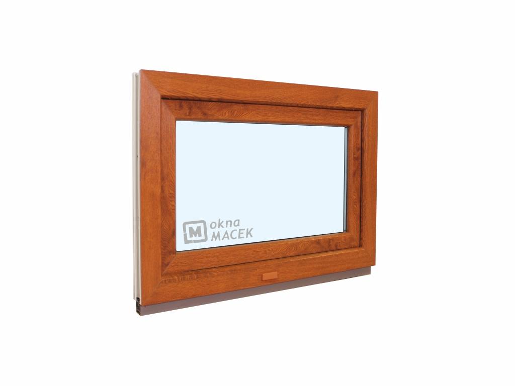 Plastové okno - KNIPPING 70 AD, 600x500 mm, S (sklopné), zlatý dub/bílá Sklo: čiré