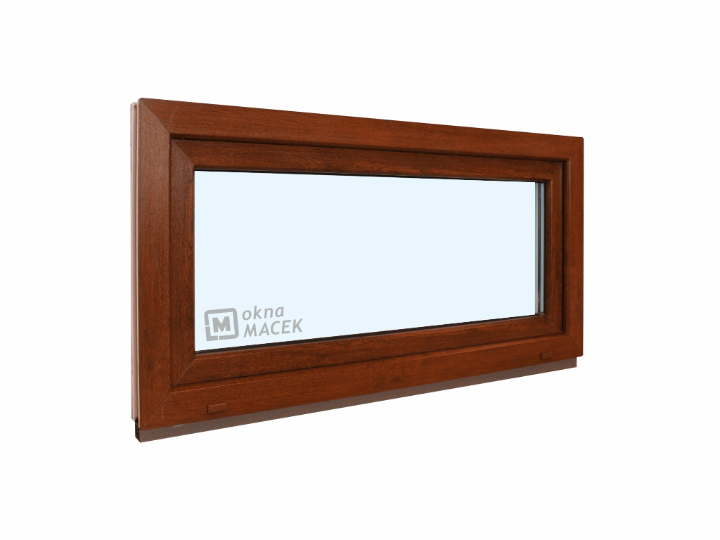 Plastové okno - KNIPPING 70 AD, 900x500 mm, S (sklopné), ořech/bílá Sklo: čiré