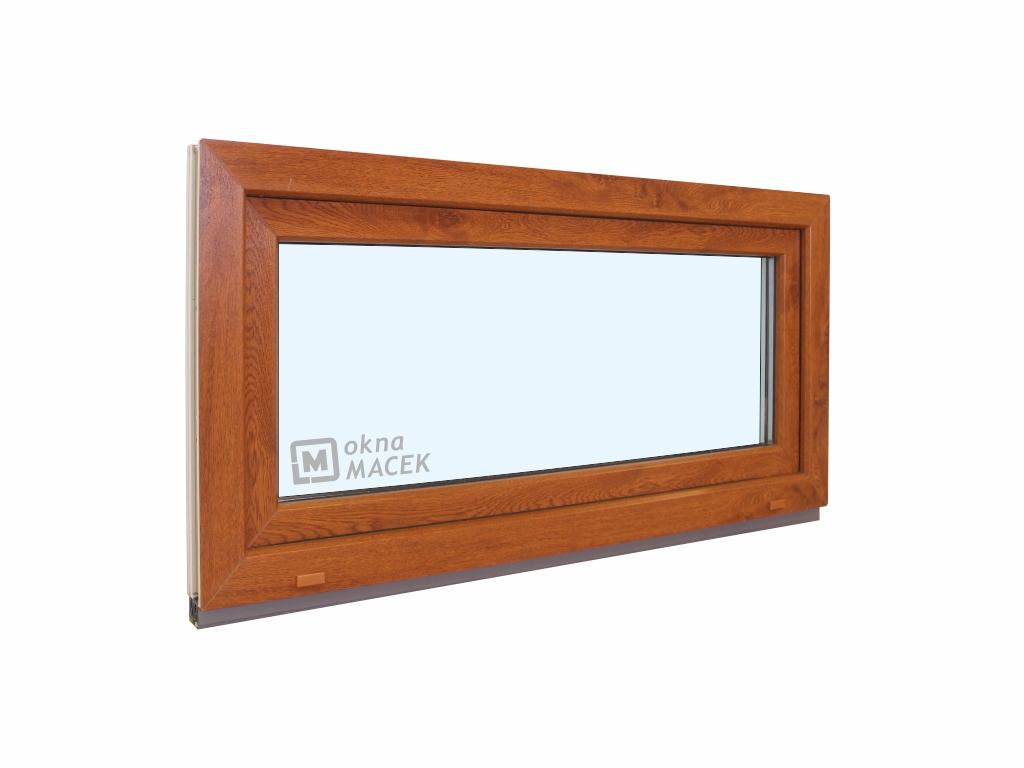 Plastové okno - KNIPPING 70 AD, 900x500 mm, S (sklopné), zlatý dub/bílá Sklo: čiré