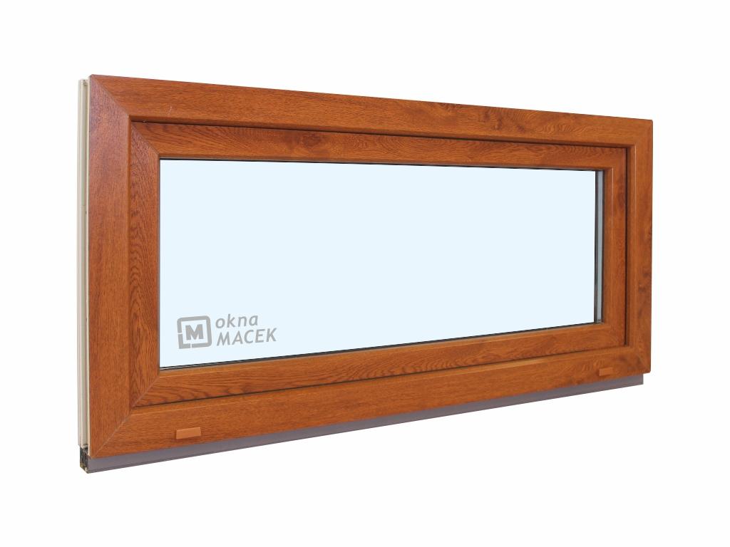 Plastové okno - KNIPPING 70 AD, 1200x600 mm, S (sklopné), zlatý dub/bílá Sklo: čiré