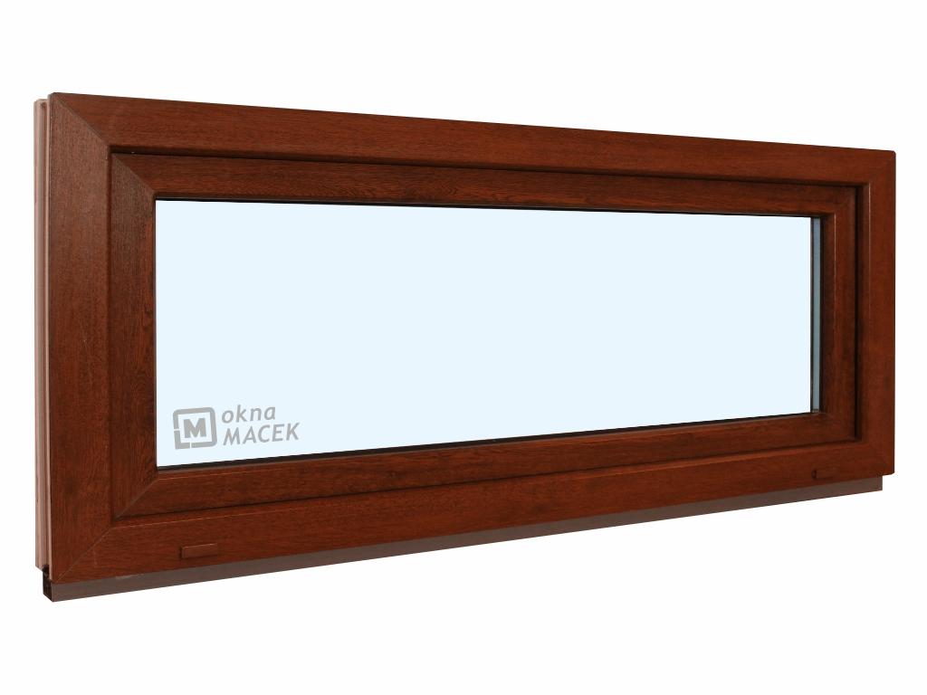 Plastové okno - KNIPPING 70 AD, 1500x600 mm, S (sklopné), ořech/bílá Sklo: čiré