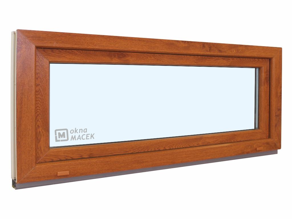 Plastové okno - KNIPPING 70 AD, 1500x600 mm, S (sklopné), zlatý dub/bílá Sklo: čiré