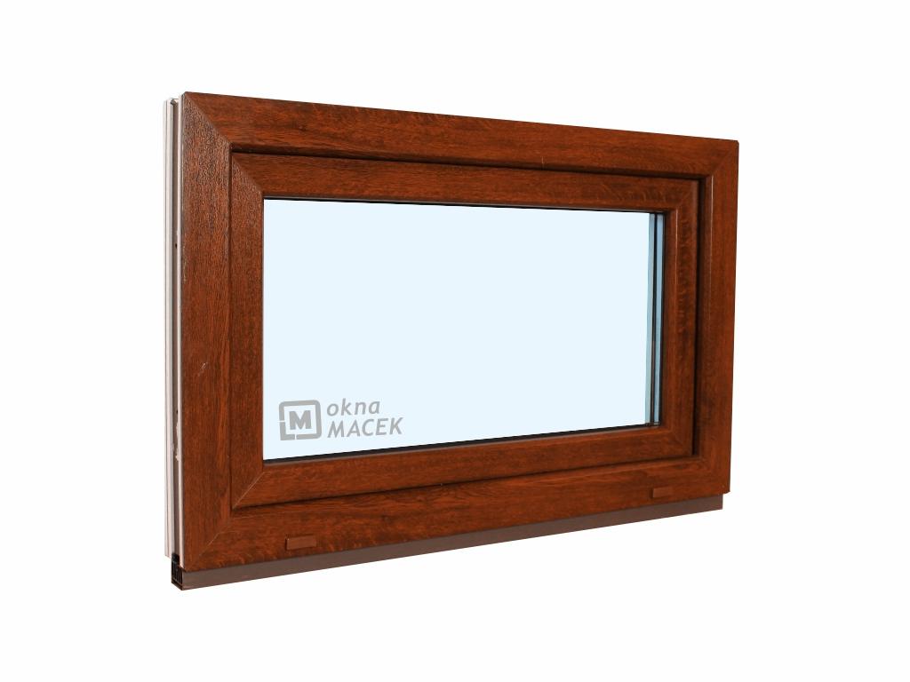 Plastové okno - KNIPPING 70 AD, 900x600 mm, S (sklopné), ořech/bílá Sklo: čiré