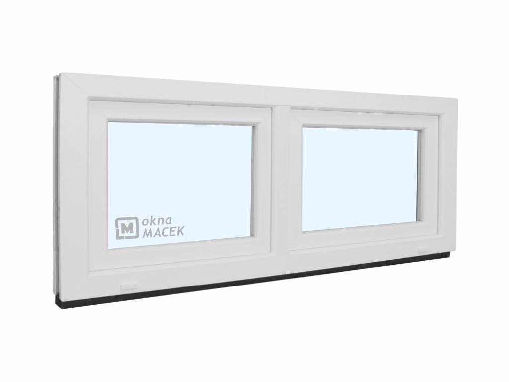 Plastové okno - KNIPPING 70 AD, 1500x600 mm, S+S (sklopné), bílá/bílá Sklo: čiré