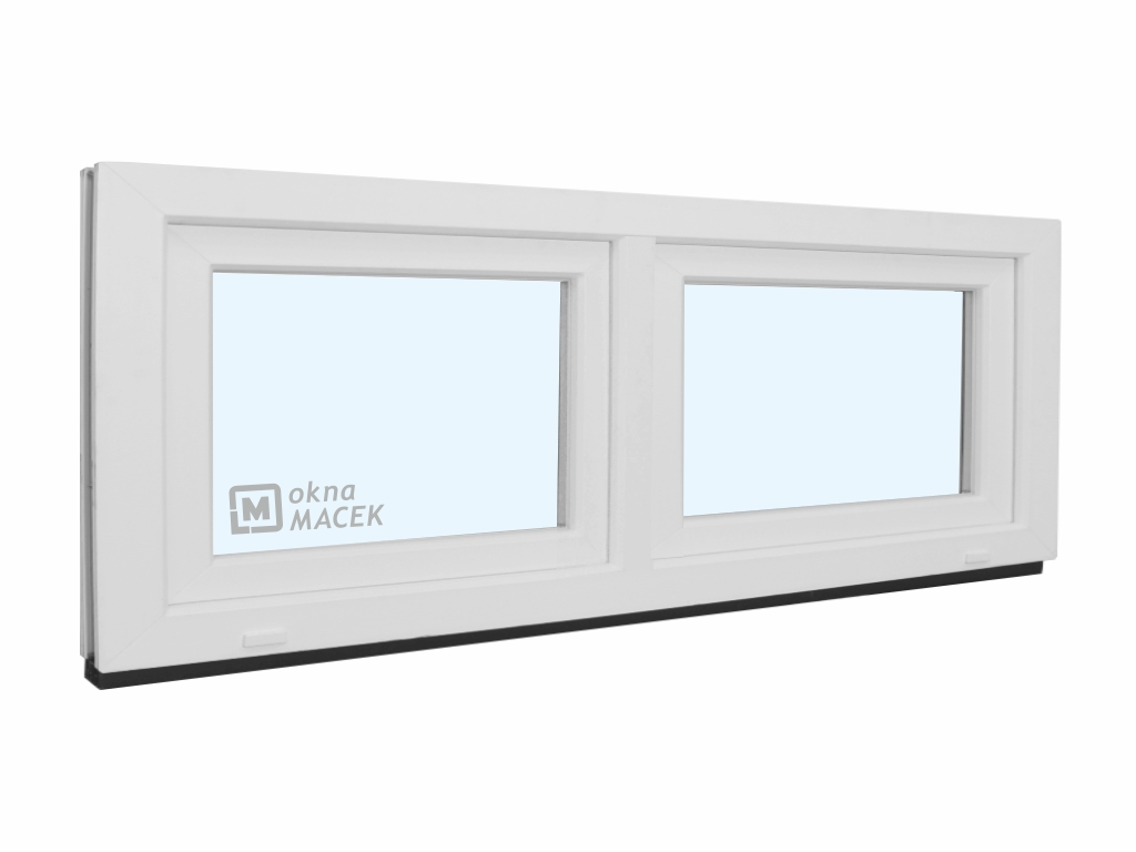 Plastové okno - KNIPPING 70 AD, 1800x600 mm, S+S (sklopné), bílá/bílá Sklo: čiré
