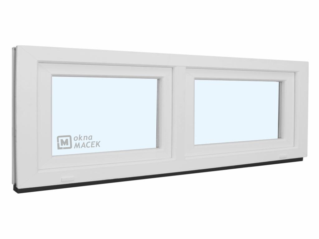 Plastové okno - KNIPPING 70 AD, 2100x600 mm, S+S (sklopné), bílá/bílá Sklo: čiré