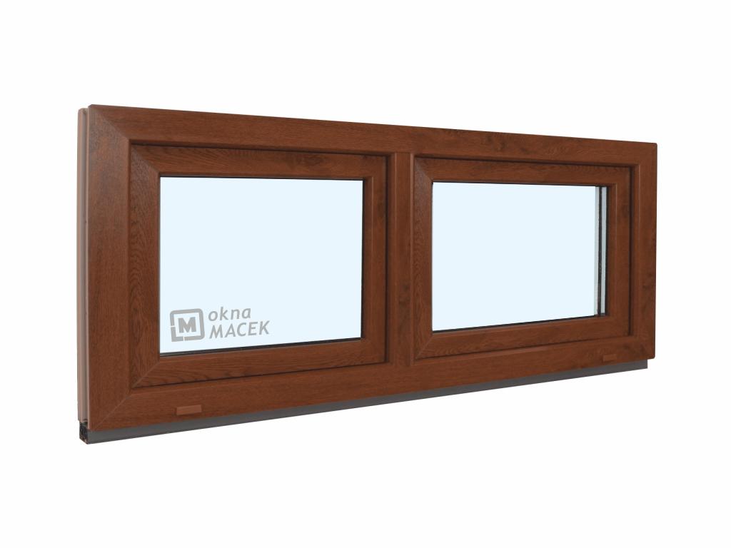 Plastové okno - KNIPPING 70 AD, 1500x600 mm, S+S (sklopné), ořech/bílá Sklo: ornamentální (kůra čirá)