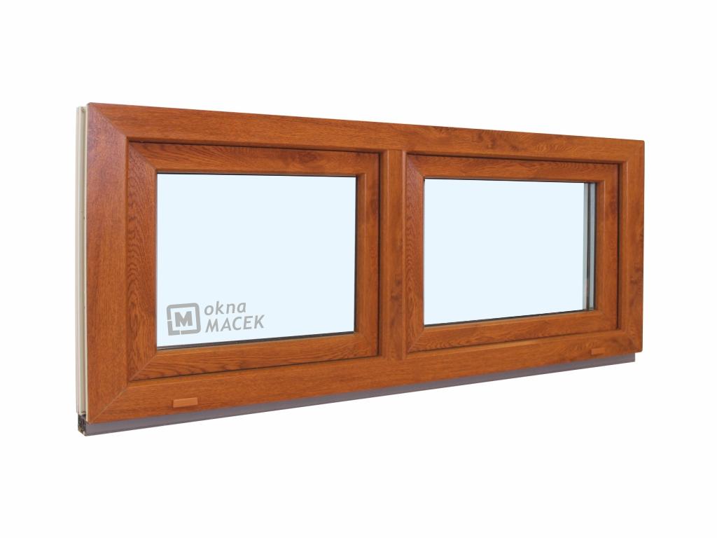 Plastové okno - KNIPPING 70 AD, 1500x600 mm, S+S (sklopné), zlatý dub/bílá Sklo: ornamentální (kůra čirá)