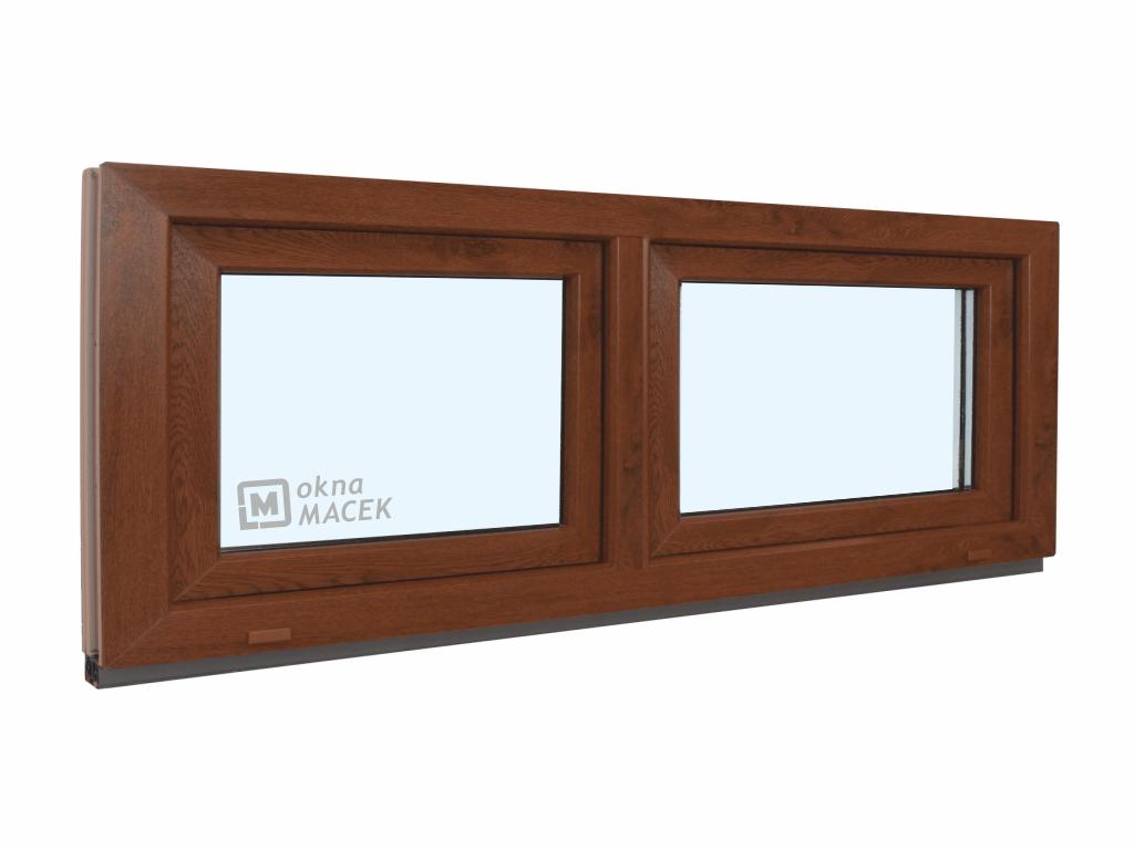 Plastové okno - KNIPPING 70 AD, 1800x600 mm, S+S (sklopné), ořech/bílá Sklo: ornamentální (kůra čirá)