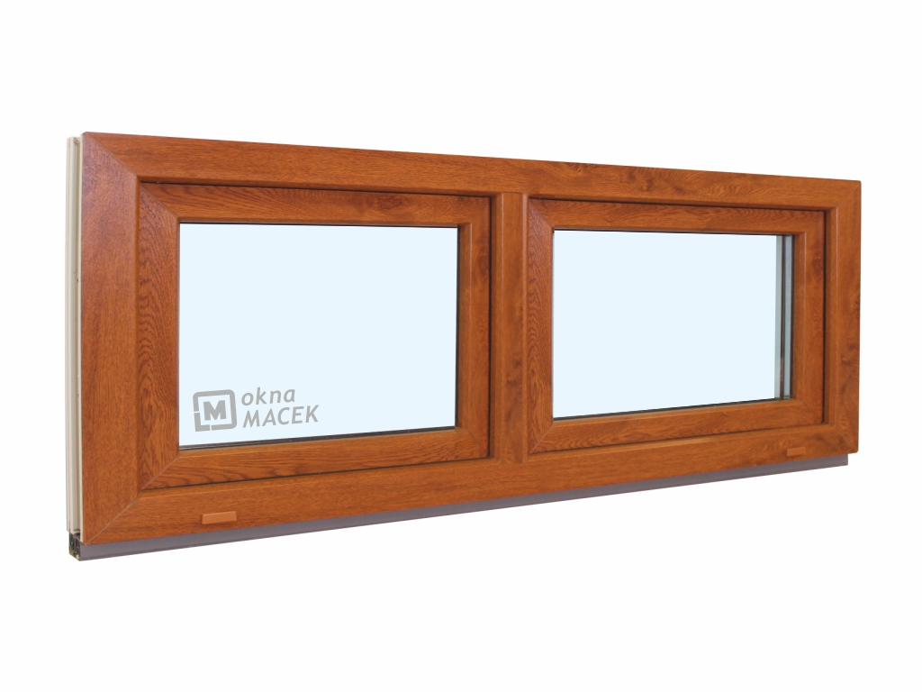 Plastové okno - KNIPPING 70 AD, 1800x600 mm, S+S (sklopné), zlatý dub/bílá Sklo: ornamentální (kůra čirá)
