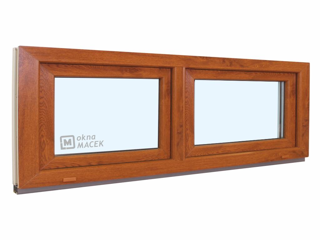 Plastové okno - KNIPPING 70 AD, 2100x600 mm, S+S (sklopné), zlatý dub/bílá Sklo: čiré
