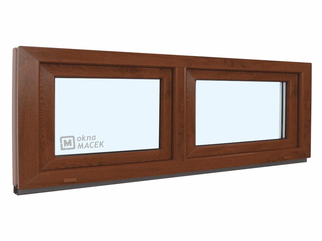 Plastové okno - KNIPPING 70 AD, 2100x600 mm, S+S (sklopné), ořech/bílá Sklo: čiré
