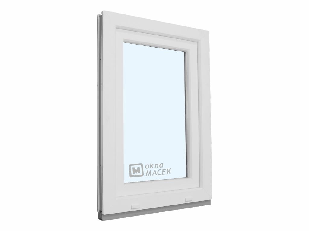 Plastové okno - KNIPPING 70 AD, 600x1200 mm, OS, bílá/bílá Otevírání: levé, Sklo: čiré