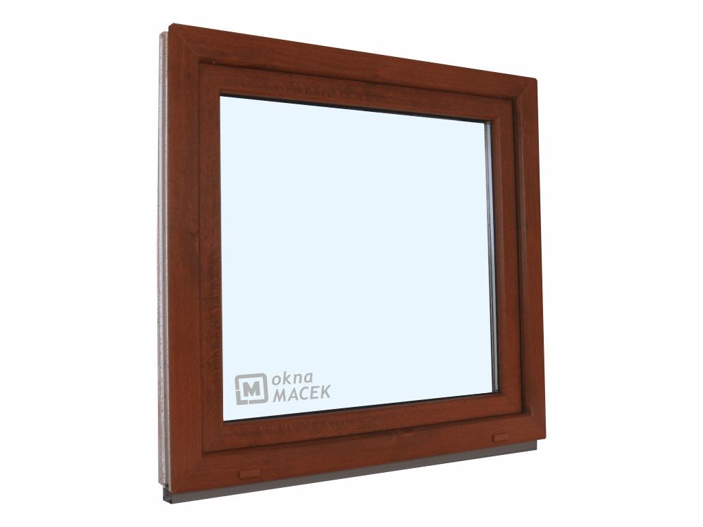 Plastové okno - KNIPPING 70 AD, 1200x1200 mm, OS, ořech/bílá Otevírání: levé, Sklo: čiré
