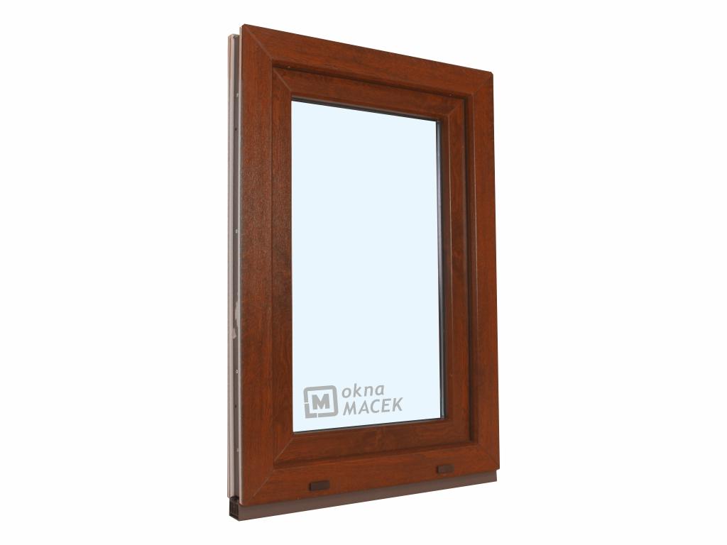 Plastové okno - KNIPPING 70 AD, 600x1200 mm, OS, ořech/bílá Otevírání: levé, Sklo: čiré