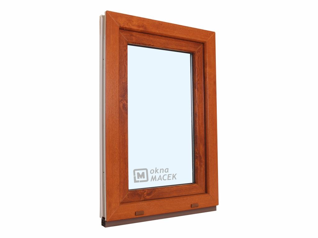 Plastové okno - KNIPPING 70 AD, 600x1200 mm, OS, zlatý dub/bílá Otevírání: levé, Sklo: čiré