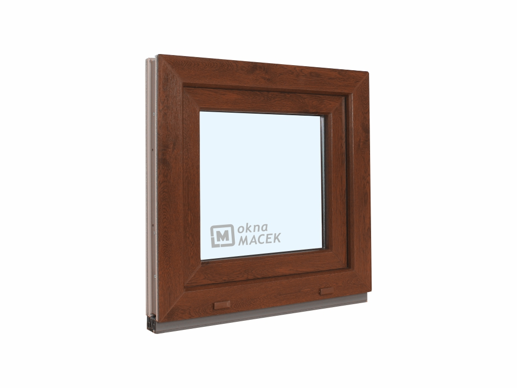 Plastové okno - KNIPPING 70 AD, 600x600 mm, OS, ořech/bílá Otevírání: levé, Sklo: čiré