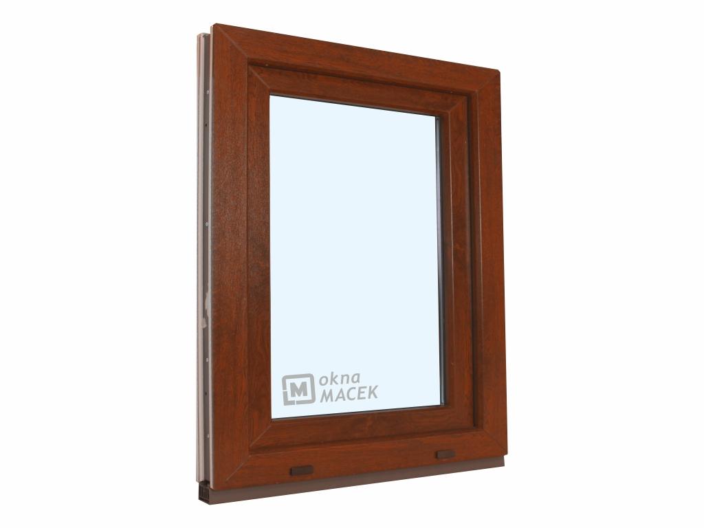 Plastové okno - KNIPPING 70 AD, 900x1200 mm, OS, ořech/bílá Otevírání: levé, Sklo: čiré