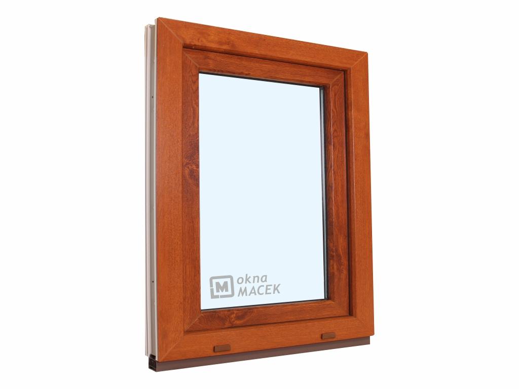 Plastové okno - KNIPPING 70 AD, 900x1200 mm, OS, zlatý dub/bílá Otevírání: pravé, Sklo: čiré