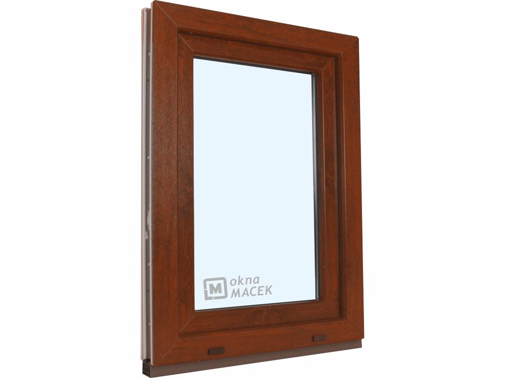 Plastové okno - KNIPPING 70 AD, 900x1500 mm, OS, ořech/bílá Otevírání: levé, Sklo: čiré