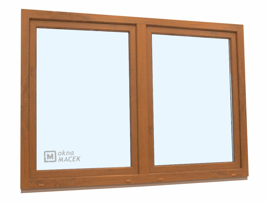Plastové okno - KNIPPING 70 AD, 1800x1200 mm, O/OS sloupek, zlatý dub/bílá