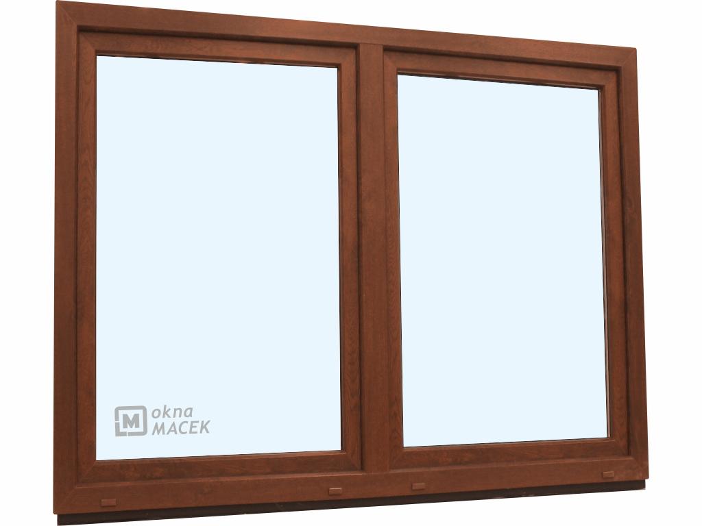 Plastové okno - KNIPPING 70 AD, 1800x1500 mm, O/OS sloupek, ořech/bílá