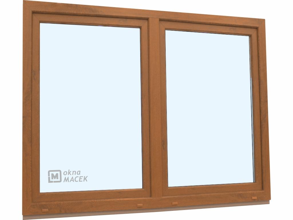 Plastové okno - KNIPPING 70 AD, 1800x1500 mm, O/OS sloupek, zlatý dub/bílá