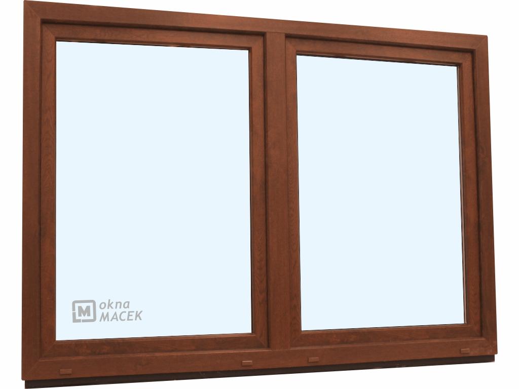 Plastové okno - KNIPPING 70 AD, 2100x1500 mm, O/OS sloupek, ořech/bílá