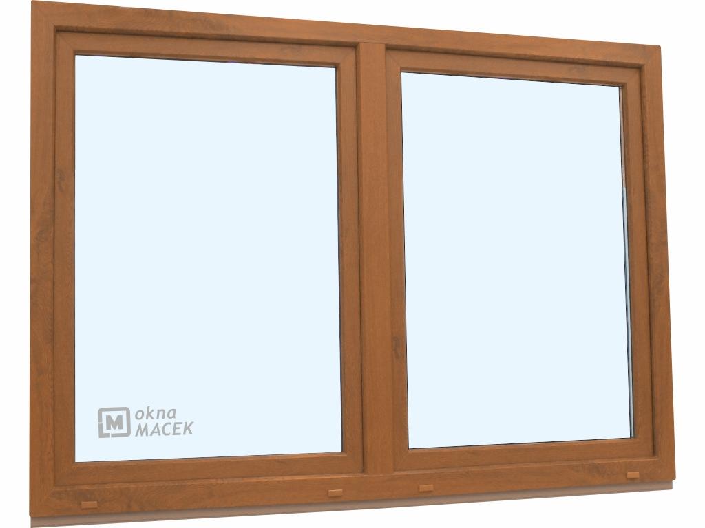 Plastové okno - KNIPPING 70 AD, 2100x1500 mm, O/OS sloupek, zlatý dub/bílá