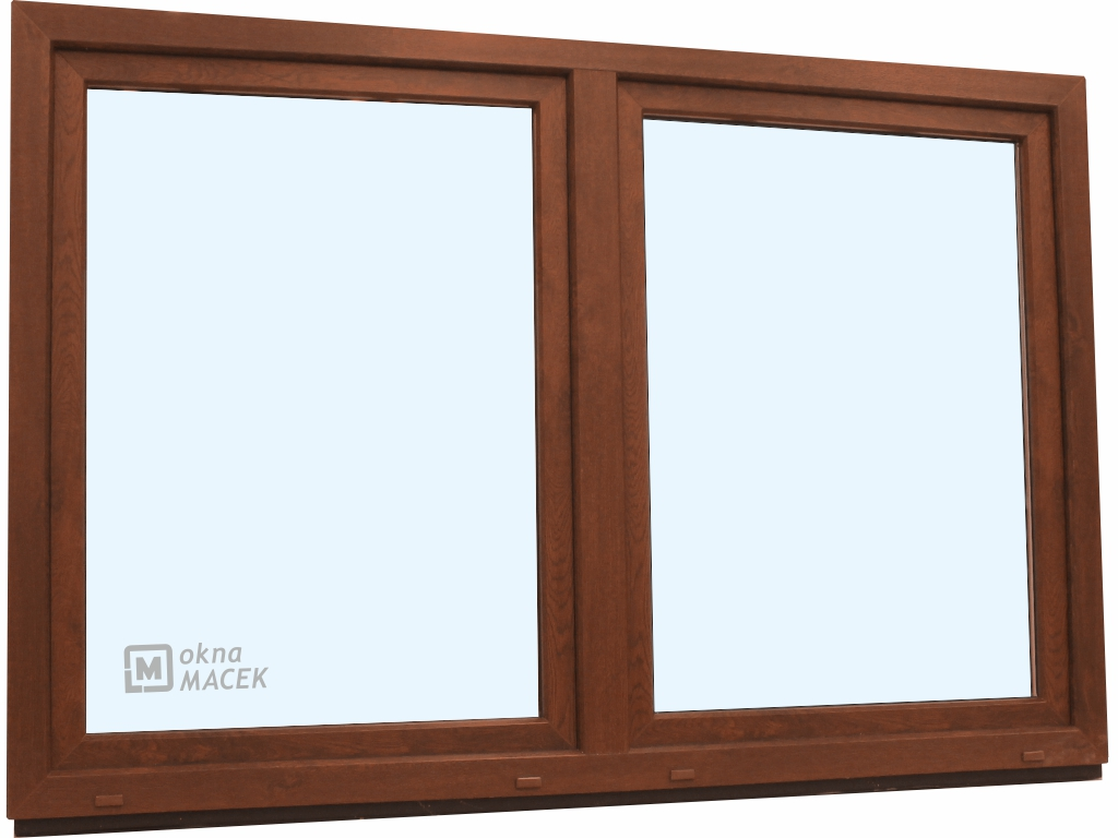 Plastové okno - KNIPPING 70 AD, 2400x1500 mm, O/OS sloupek, ořech/bílá
