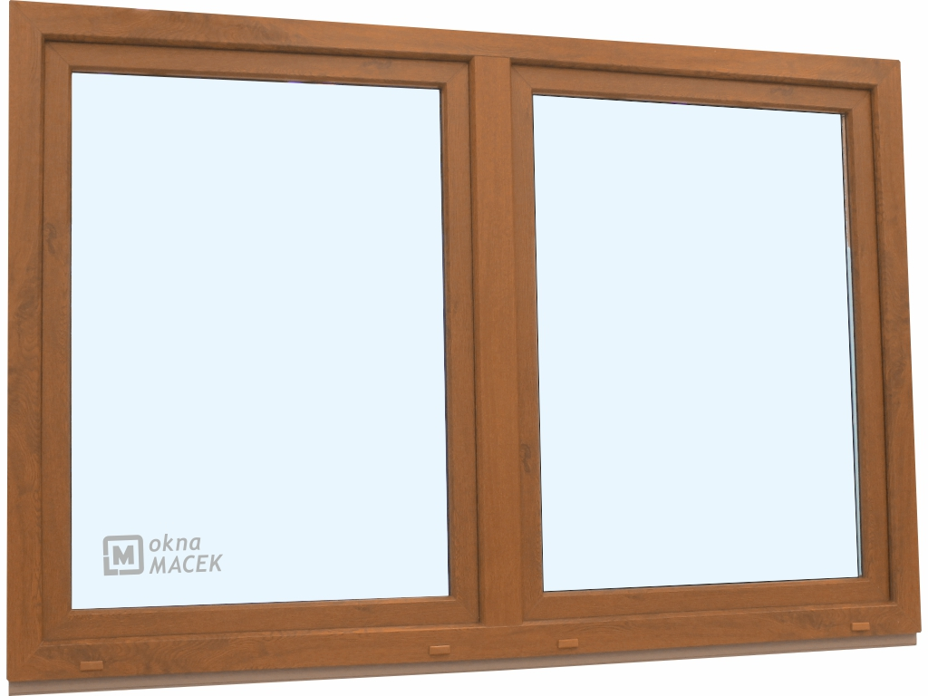 Plastové okno - KNIPPING 70 AD, 2400x1500 mm, O/OS sloupek, zlatý dub/bílá